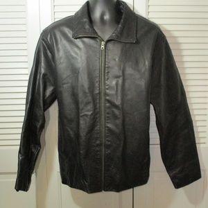 Gap Black Leather Lined Jacket L